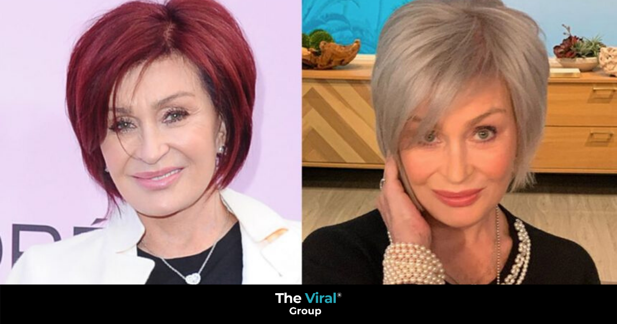 Before and after picture of Sharon Osbourne's red hair and grey hair