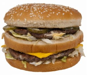 A picture of one of McDonald's double cheeseburgers
