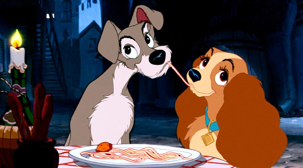 lady and the tramp spaghetti kiss